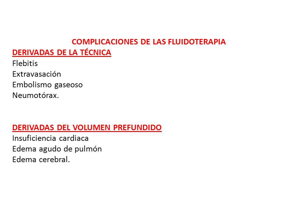COMPLICACIONES DE LAS FLUIDOTERAPIA DERIVADAS DE LA TÉCNICA Flebitis Extravasación Embolismo gaseoso Neumotórax.