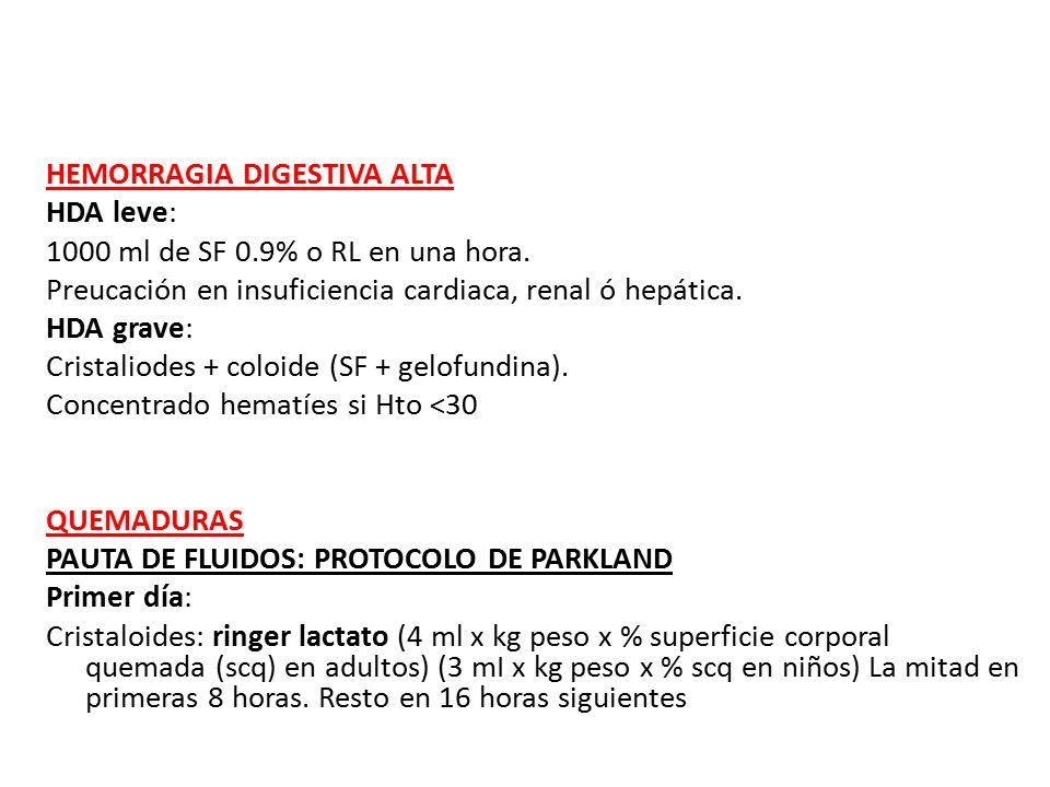 HEMORRAGIA DIGESTIVA ALTA HDA leve: 1000 ml de SF 0