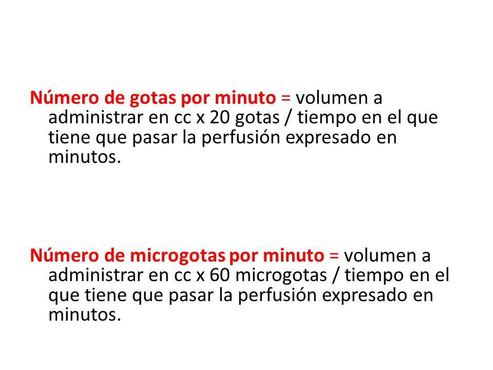Número de gotas por minuto = volumen a administrar en cc x 20 gotas / tiempo en el que tiene que pasar la perfusión expresado en minutos.