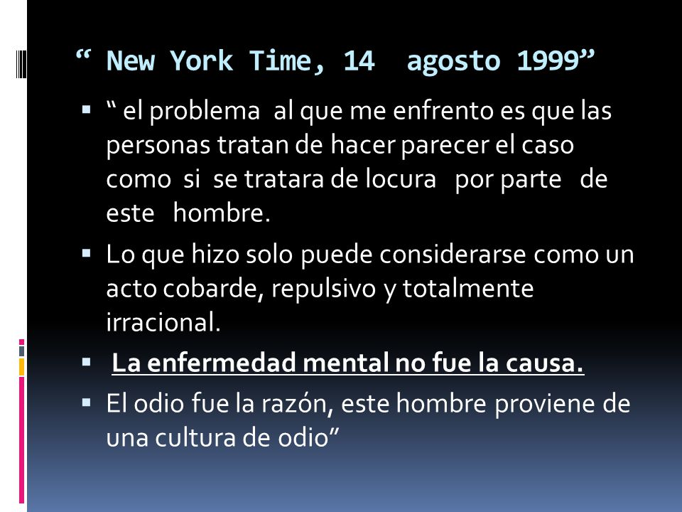 New York Time, 14 agosto 1999