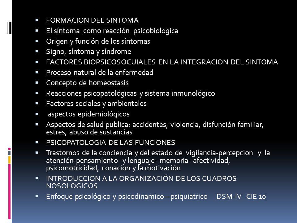 FORMACION DEL SINTOMA El síntoma como reacción psicobiologica. Origen y función de los síntomas.