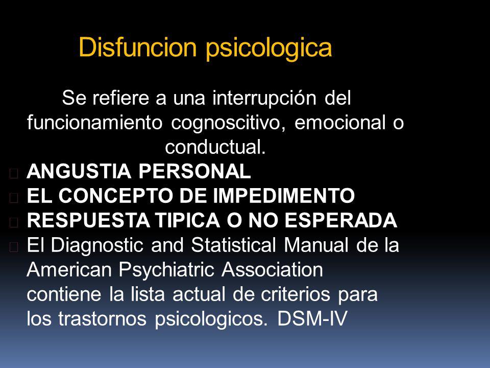 Disfuncion psicologica