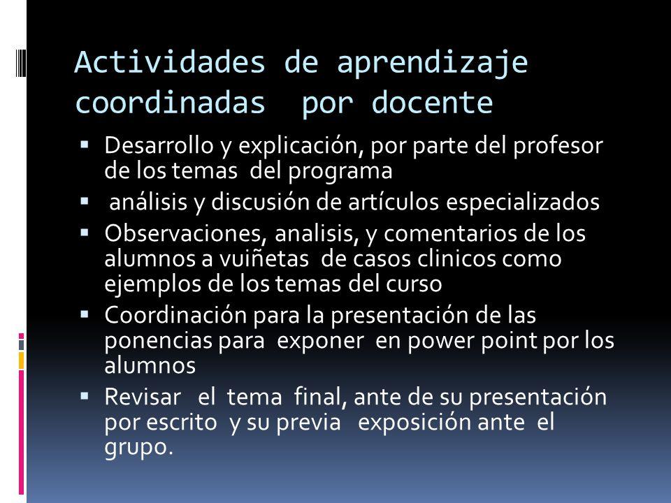 Actividades de aprendizaje coordinadas por docente