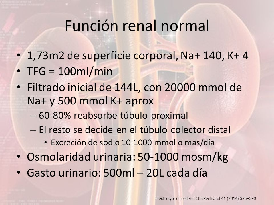 Función renal normal 1,73m2 de superficie corporal, Na+ 140, K+ 4