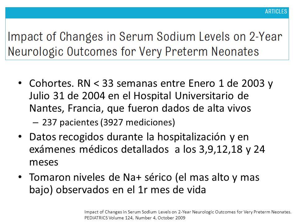 Cohortes. RN < 33 semanas entre Enero 1 de 2003 y Julio 31 de 2004 en el Hospital Universitario de Nantes, Francia, que fueron dados de alta vivos