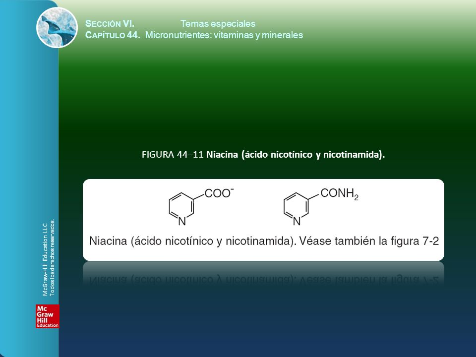 FIGURA 44–11 Niacina (ácido nicotínico y nicotinamida).