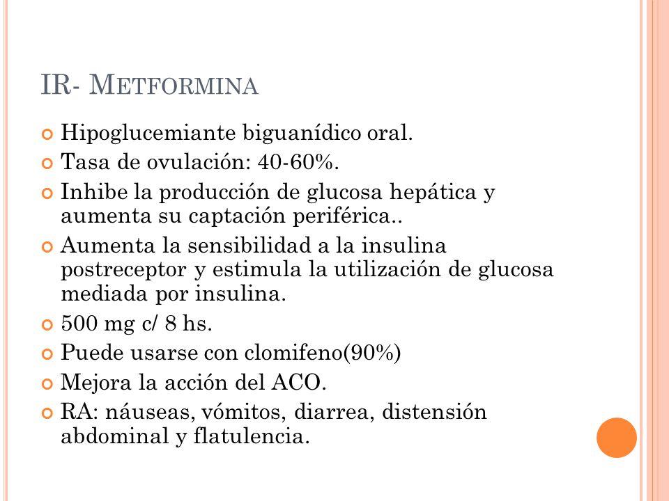 IR- Metformina Hipoglucemiante biguanídico oral.