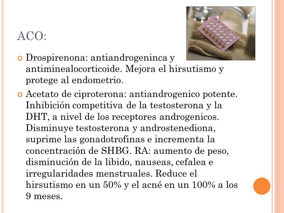 ACO: Drospirenona: antiandrogeninca y antiminealocorticoide. Mejora el hirsutismo y protege al endometrio.