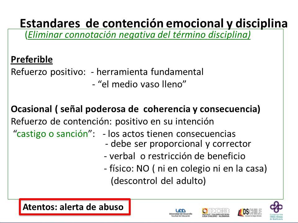 Estandares de contención emocional y disciplina