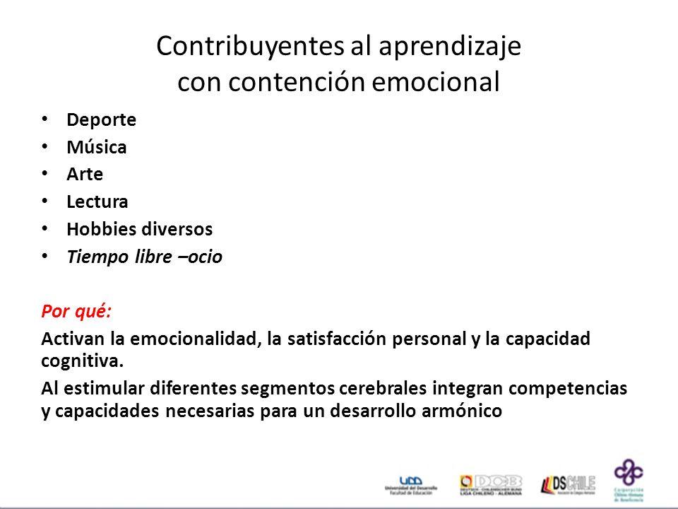 Contribuyentes al aprendizaje con contención emocional