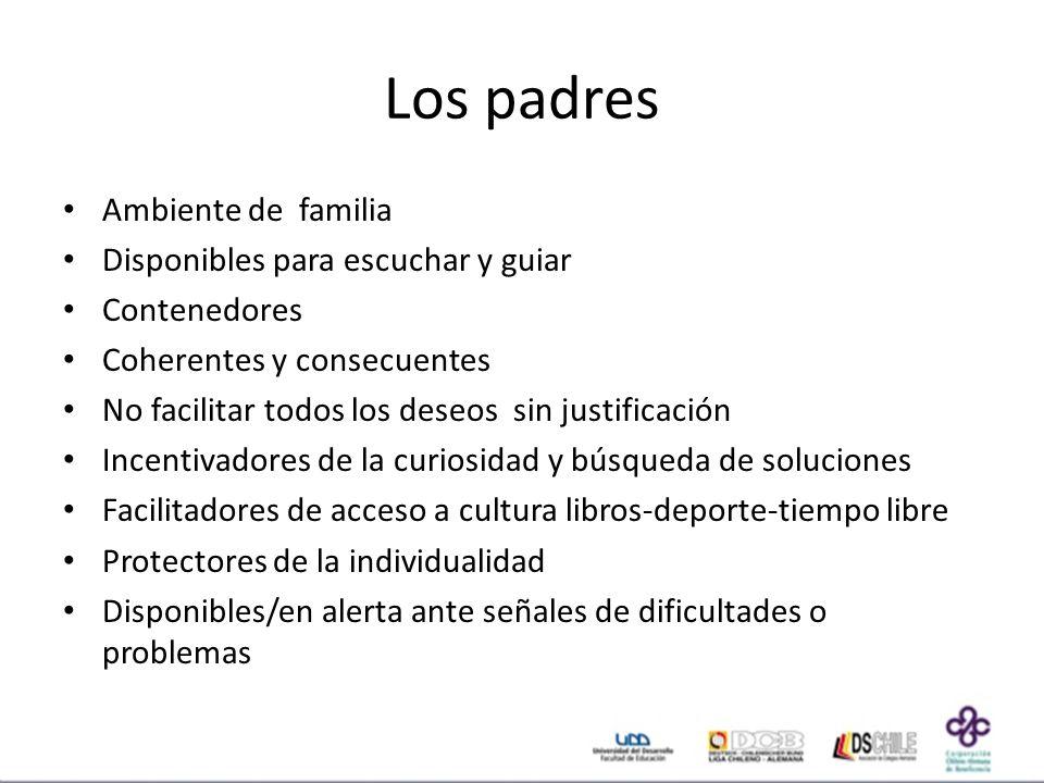 Los padres Ambiente de familia Disponibles para escuchar y guiar
