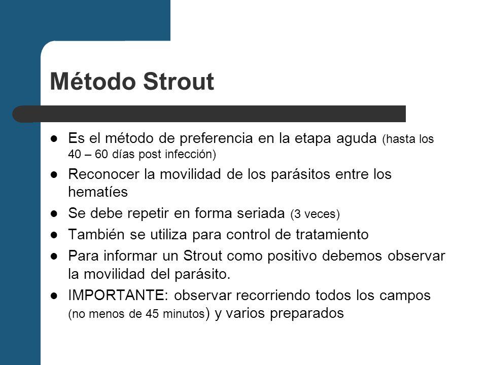 Método Strout Es el método de preferencia en la etapa aguda (hasta los 40 – 60 días post infección)
