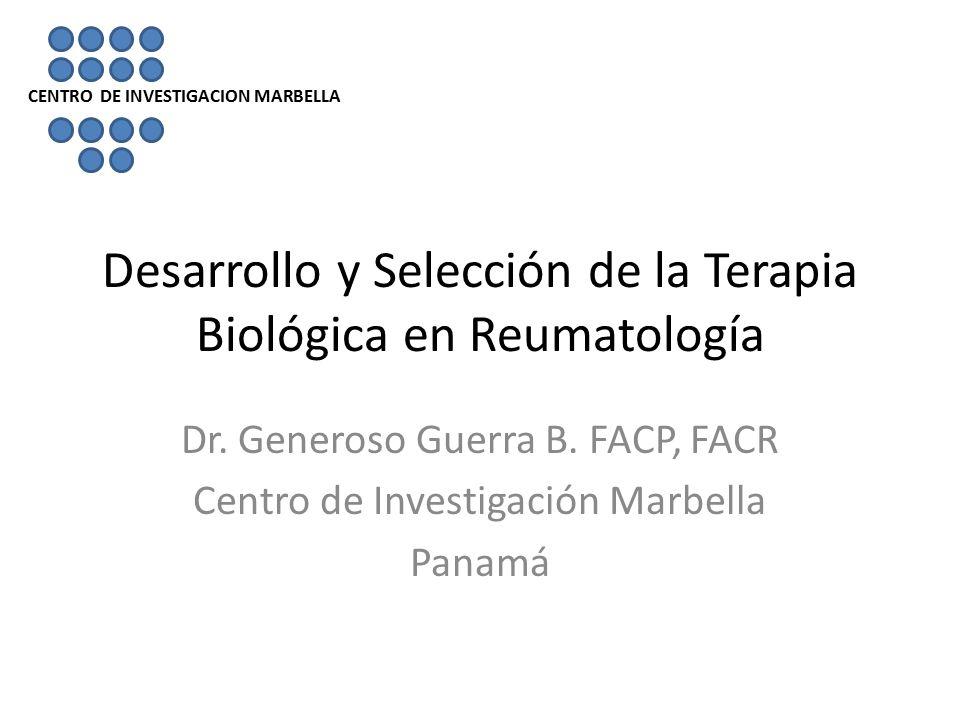 Desarrollo y Selección de la Terapia Biológica en Reumatología