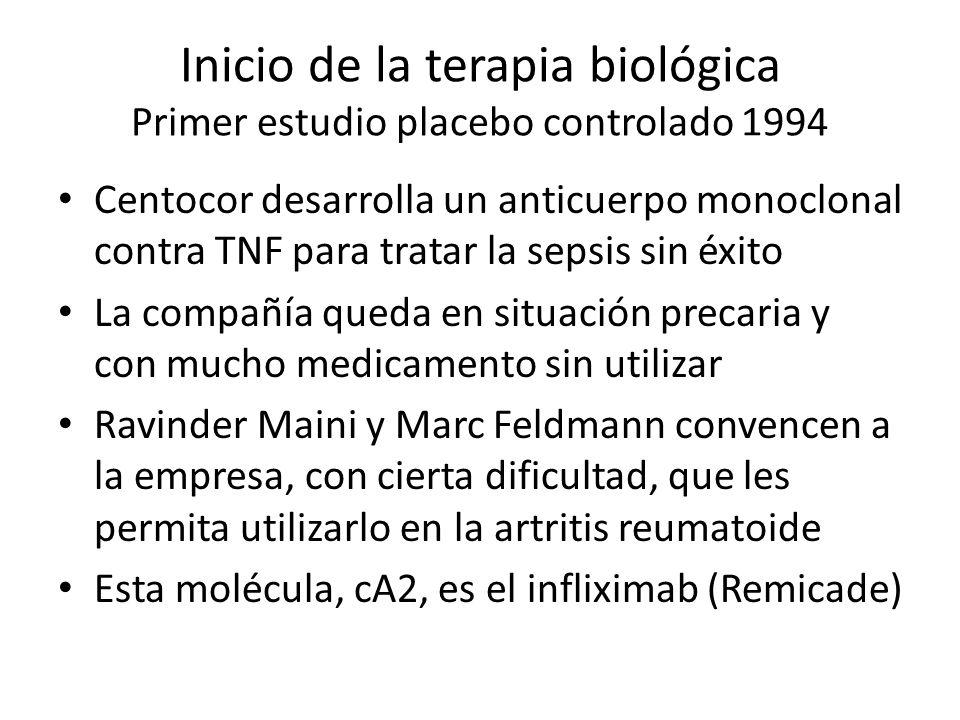 Inicio de la terapia biológica Primer estudio placebo controlado 1994