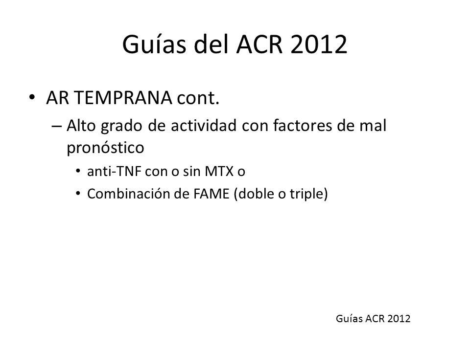 Guías del ACR 2012 AR TEMPRANA cont.