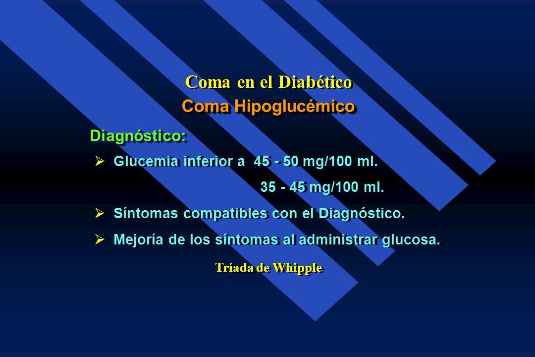 Coma en el Diabético Coma Hipoglucémico Diagnóstico:
