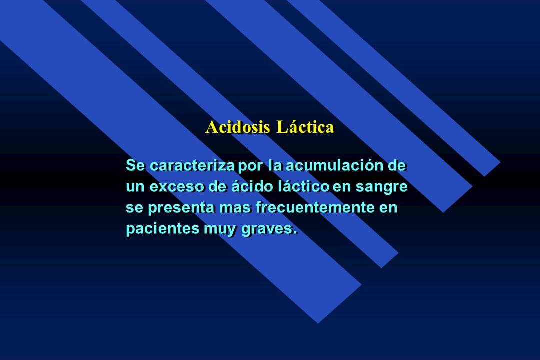 Acidosis Láctica Se caracteriza por la acumulación de