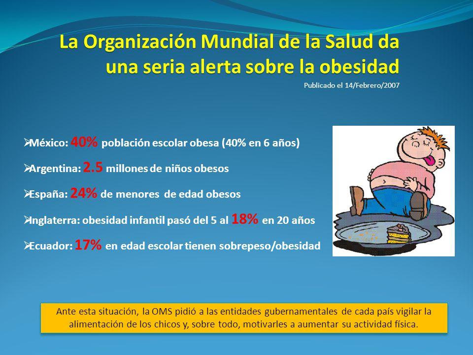 La Organización Mundial de la Salud da una seria alerta sobre la obesidad
