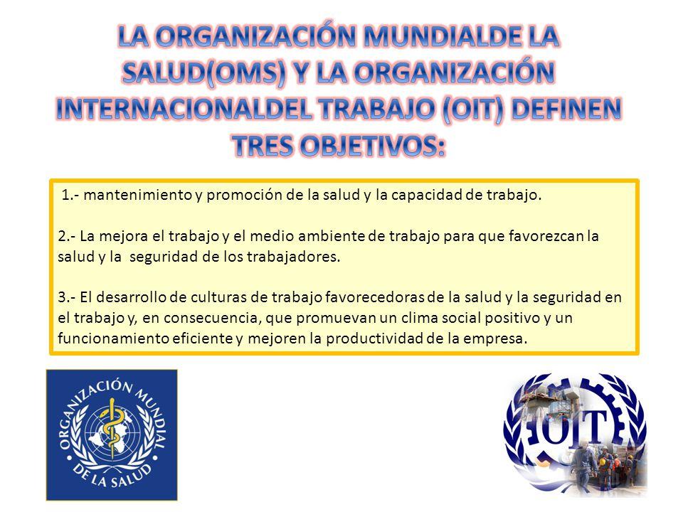 LA ORGANIZACIÓN MUNDIALDE LA SALUD(OMS) Y LA ORGANIZACIÓN INTERNACIONALDEL TRABAJO (OIT) DEFINEN TRES OBJETIVOS: