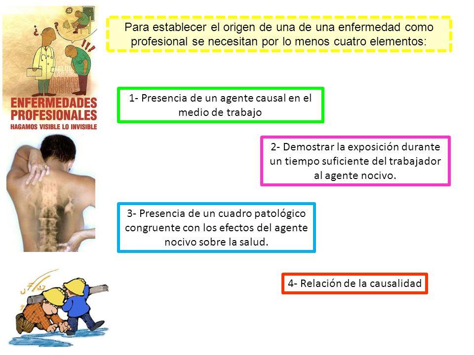 1- Presencia de un agente causal en el medio de trabajo