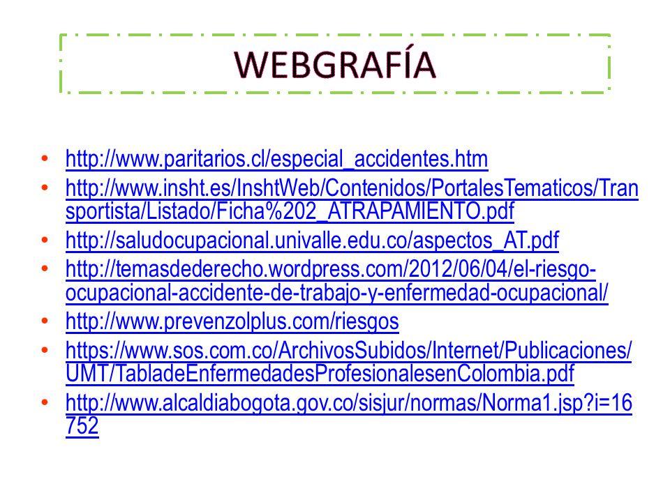 WEBGRAFÍA http://www.paritarios.cl/especial_accidentes.htm