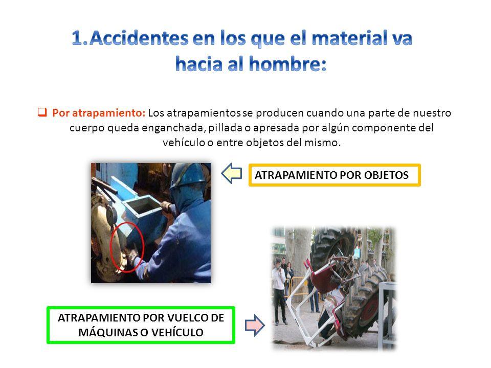 Accidentes en los que el material va hacia al hombre: