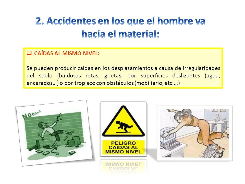 2. Accidentes en los que el hombre va hacia el material: