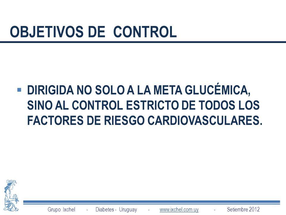 OBJETIVOS DE CONTROL DIRIGIDA NO SOLO A LA META GLUCÉMICA, SINO AL CONTROL ESTRICTO DE TODOS LOS FACTORES DE RIESGO CARDIOVASCULARES.