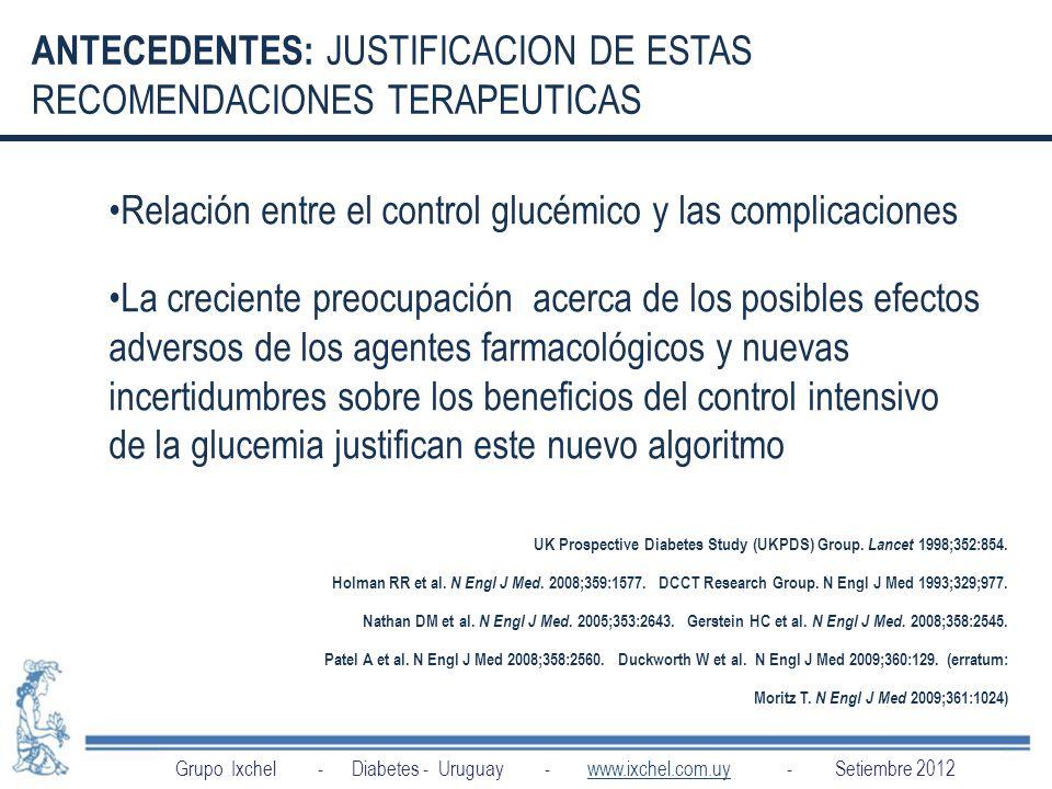ANTECEDENTES: JUSTIFICACION DE ESTAS RECOMENDACIONES TERAPEUTICAS