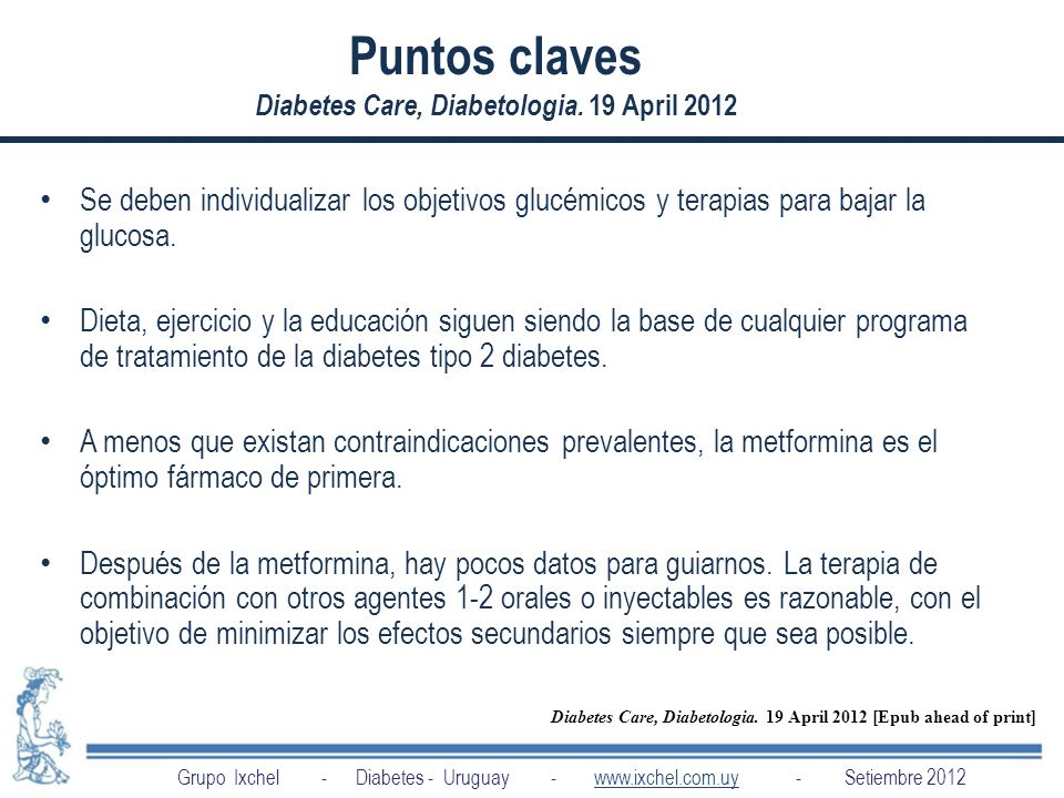 Puntos claves Diabetes Care, Diabetologia. 19 April 2012