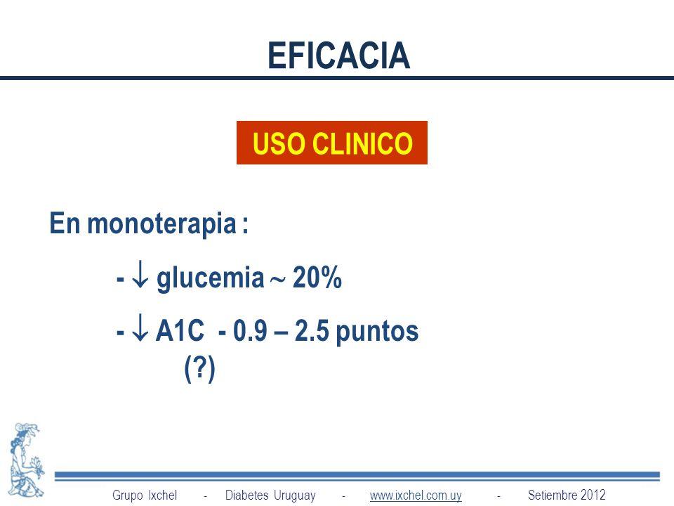 EFICACIA USO CLINICO En monoterapia : -  glucemia  20%