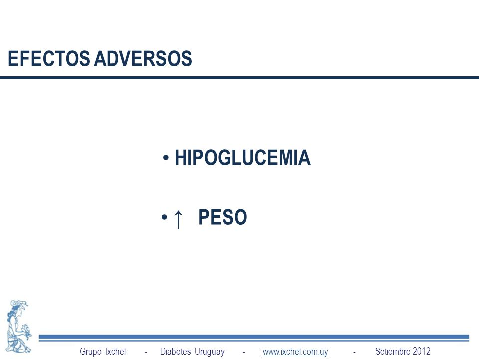 INDICACIONES EFECTOS ADVERSOS HIPOGLUCEMIA ↑ PESO