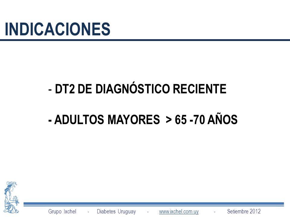 INDICACIONES DT2 DE DIAGNÓSTICO RECIENTE