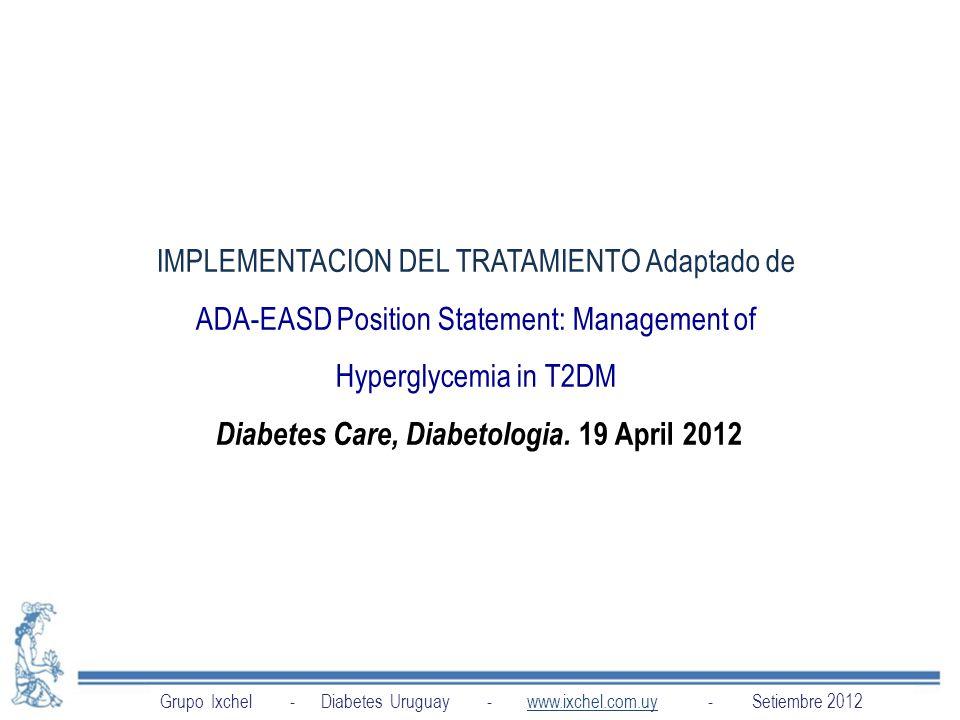 IMPLEMENTACION DEL TRATAMIENTO Adaptado de ADA-EASD Position Statement: Management of Hyperglycemia in T2DM Diabetes Care, Diabetologia. 19 April 2012
