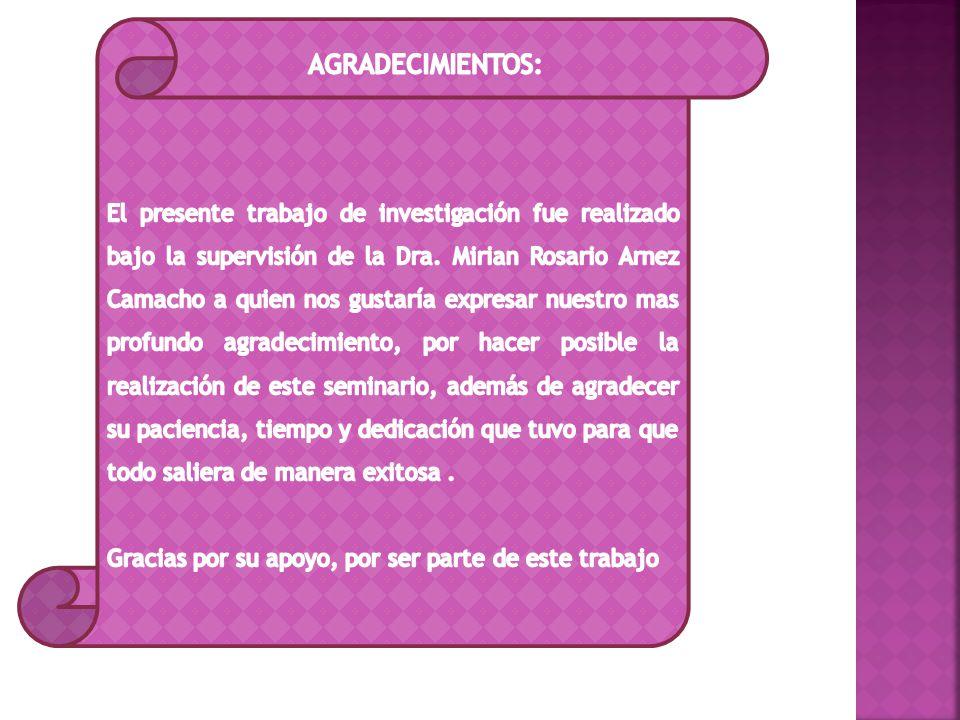 El presente trabajo de investigación fue realizado bajo la supervisión de la Dra. Mirian Rosario Arnez Camacho a quien nos gustaría expresar nuestro mas profundo agradecimiento, por hacer posible la realización de este seminario, además de agradecer su paciencia, tiempo y dedicación que tuvo para que todo saliera de manera exitosa .