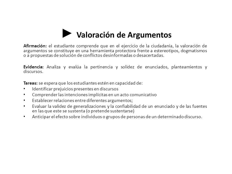 ► Valoración de Argumentos