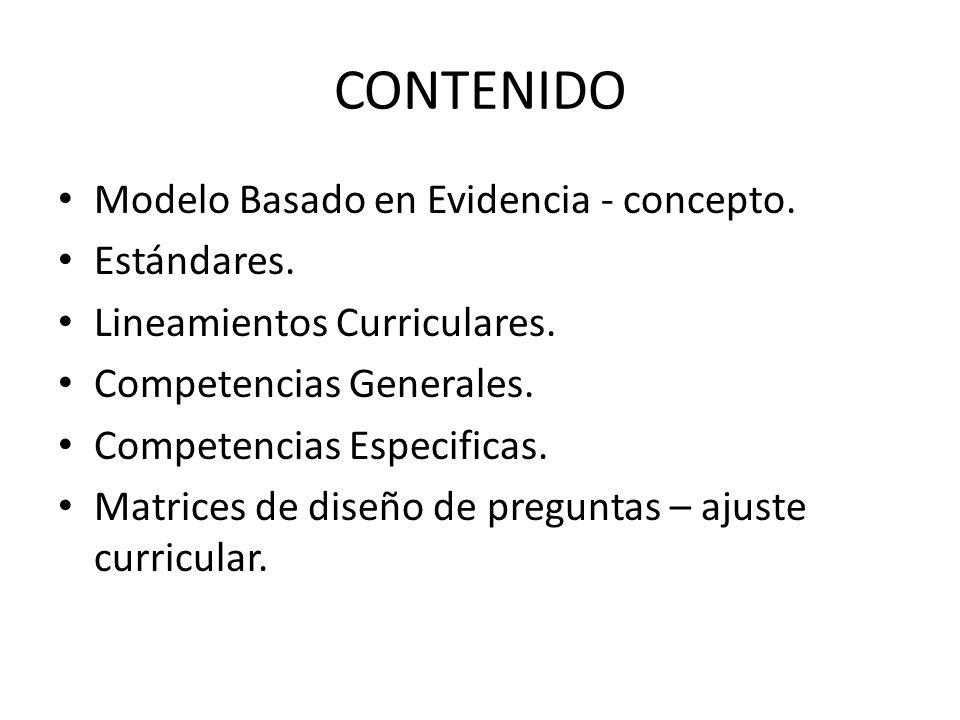 CONTENIDO Modelo Basado en Evidencia - concepto. Estándares.