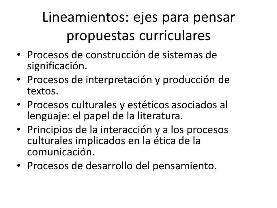 Lineamientos: ejes para pensar propuestas curriculares