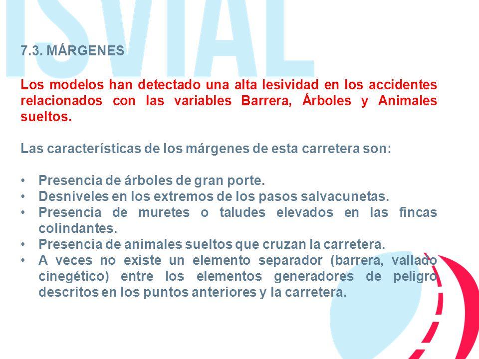7.3. MÁRGENES Los modelos han detectado una alta lesividad en los accidentes relacionados con las variables Barrera, Árboles y Animales sueltos.