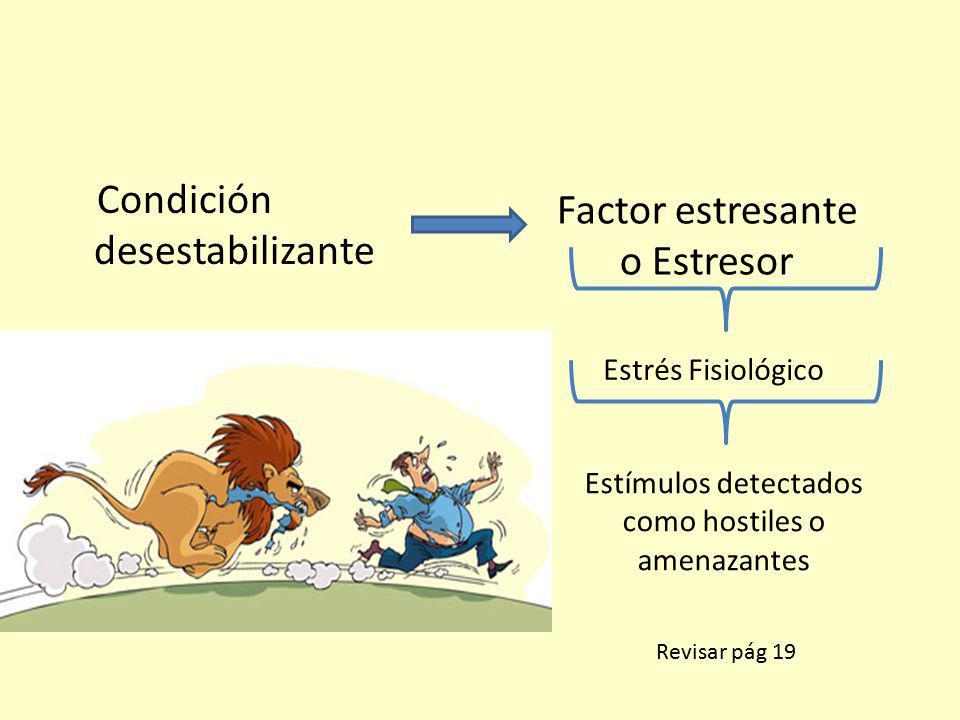Condición desestabilizante Factor estresante o Estresor