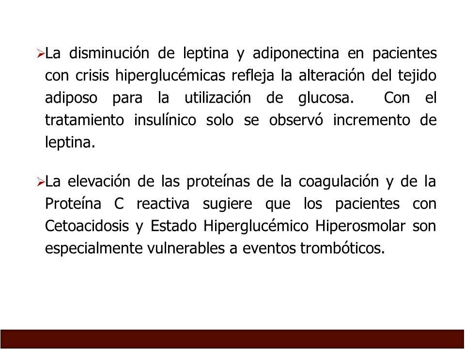 La disminución de leptina y adiponectina en pacientes con crisis hiperglucémicas refleja la alteración del tejido adiposo para la utilización de glucosa. Con el tratamiento insulínico solo se observó incremento de leptina.