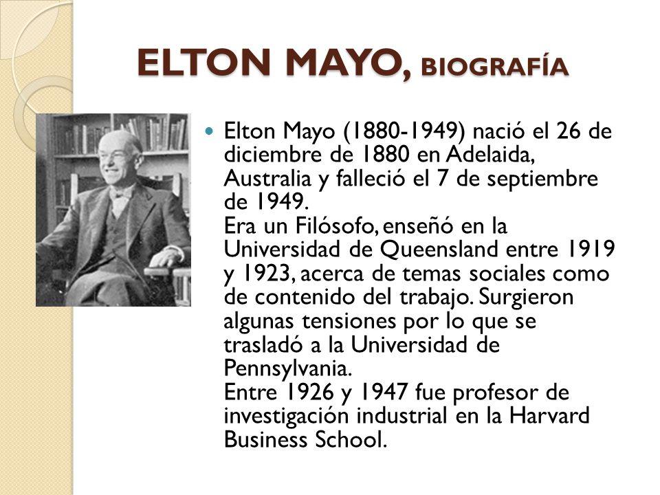ELTON MAYO, BIOGRAFÍA