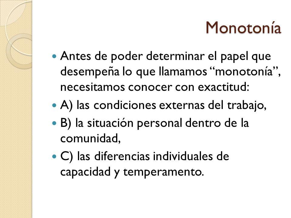 Monotonía Antes de poder determinar el papel que desempeña lo que llamamos monotonía , necesitamos conocer con exactitud: