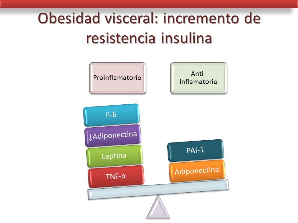 Obesidad visceral: incremento de resistencia insulina