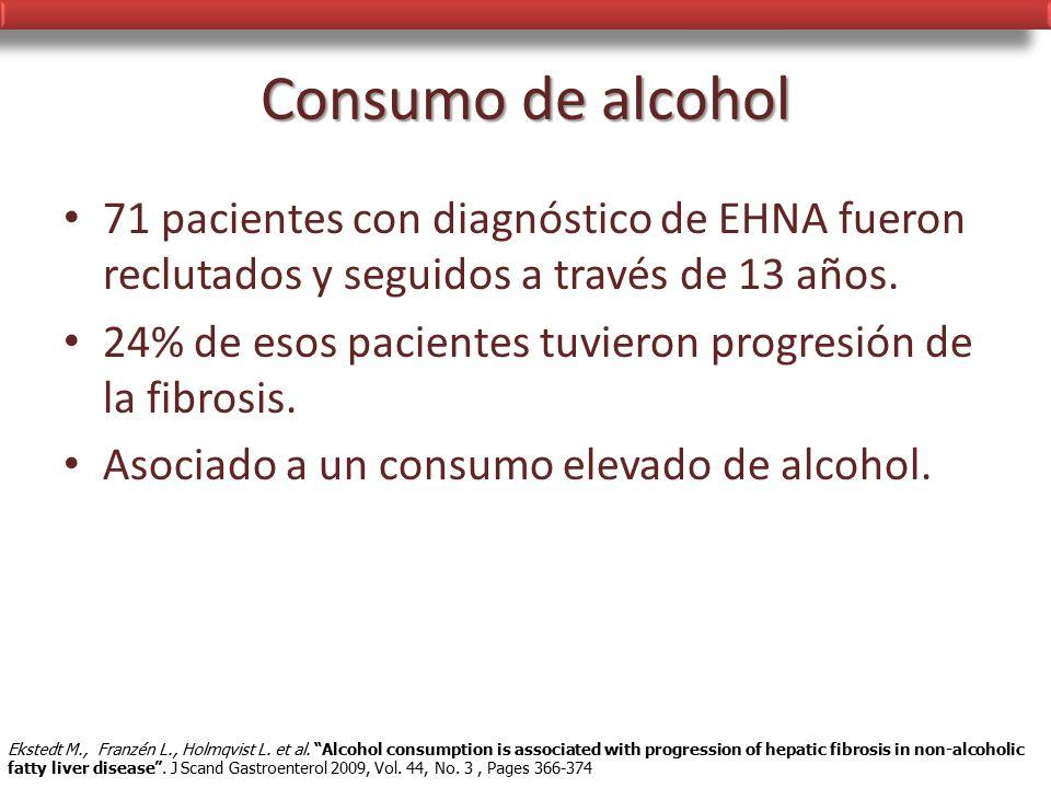 Consumo de alcohol 71 pacientes con diagnóstico de EHNA fueron reclutados y seguidos a través de 13 años.