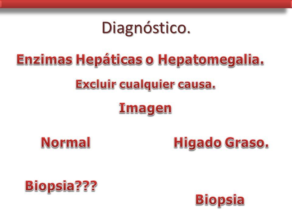 Enzimas Hepáticas o Hepatomegalia. Excluir cualquier causa.