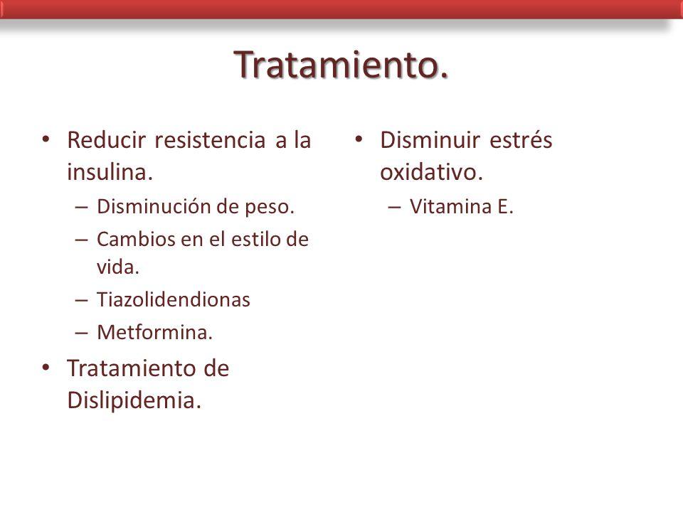 Tratamiento. Reducir resistencia a la insulina.