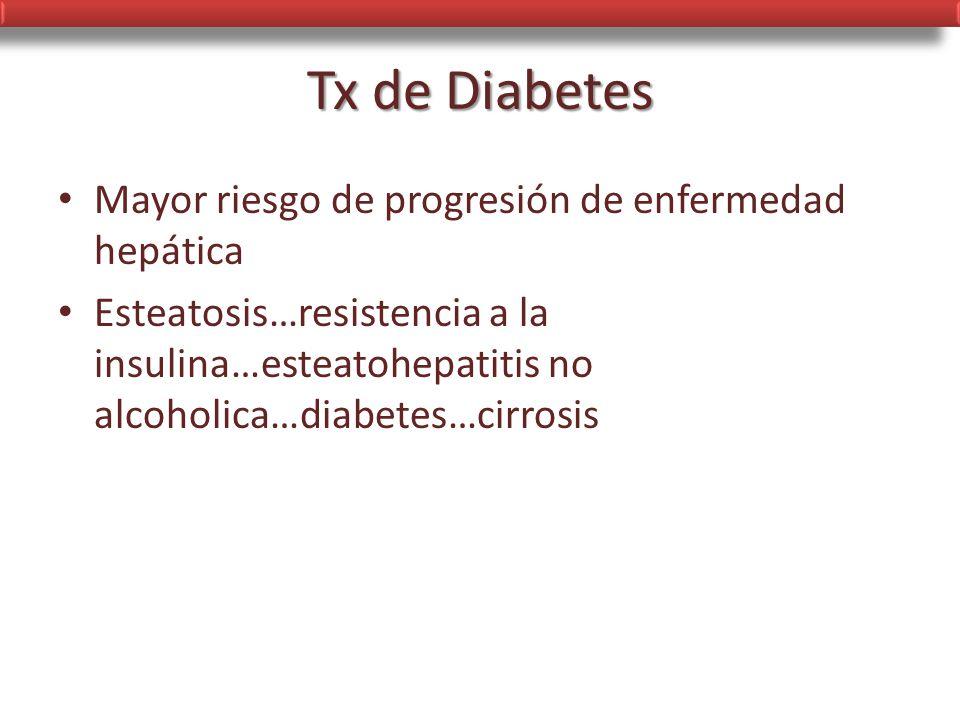 Tx de Diabetes Mayor riesgo de progresión de enfermedad hepática
