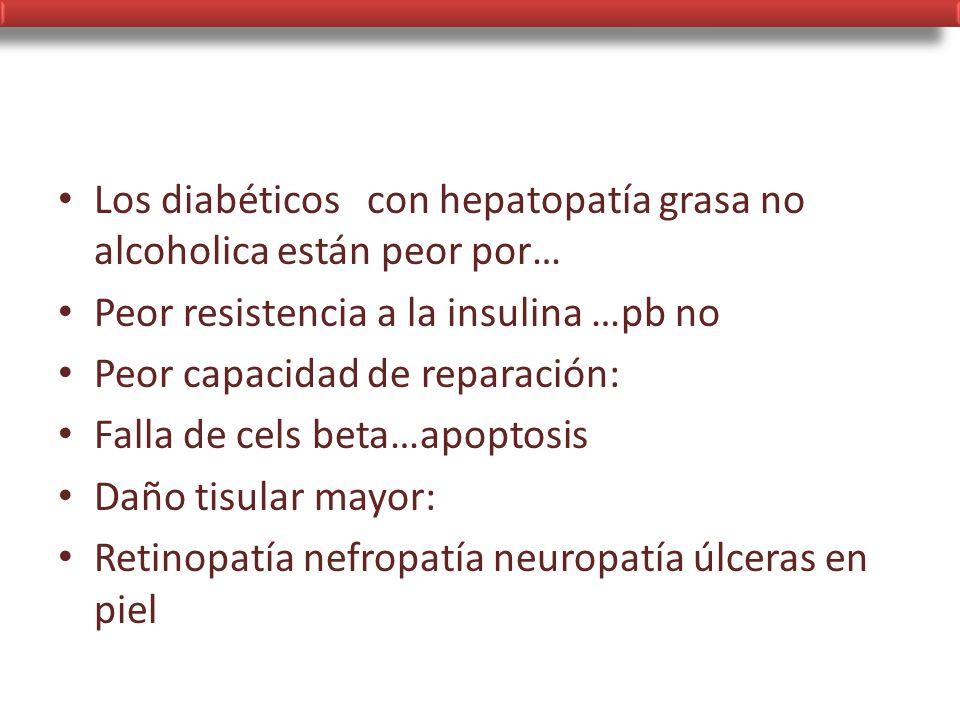 Los diabéticos con hepatopatía grasa no alcoholica están peor por…