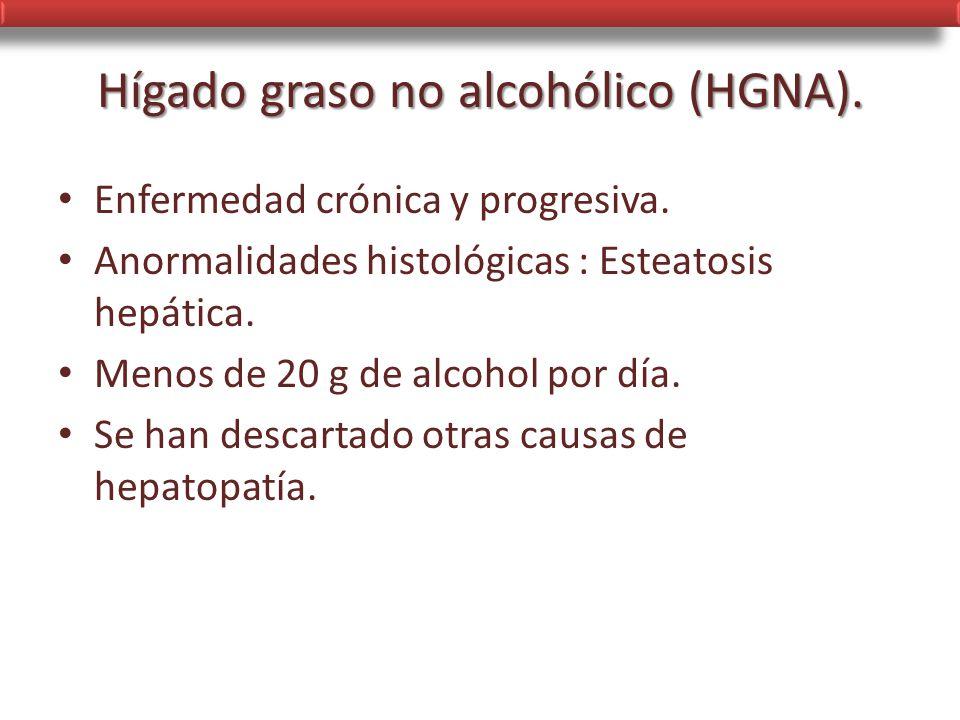 Hígado graso no alcohólico (HGNA).